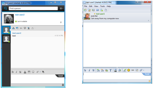 Figure 2. Comparison of new and old Sametime chat windows