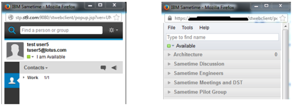 Figure 4. Comparison of new and old Sametime web clients